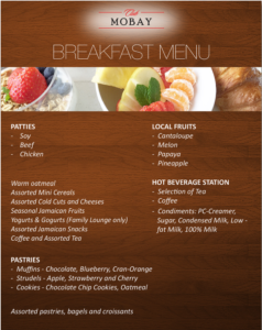 Club MoBay Breakfast Menu