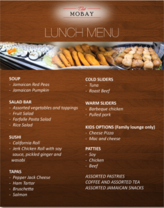 Club MoBay Lunch menu