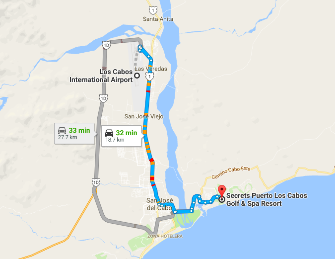 Directions to Secrets Puerto Los Cabos from the airport